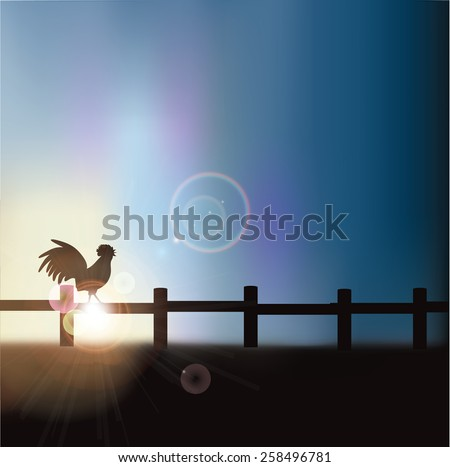 Rooster crowing at sunrise background with copy space royalty free stock illustration for greeting card, ad, promotion, poster, flier, blog, article, social media, marketing - stock photo