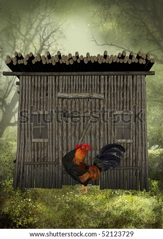 Rooster in front of the hen house on an early foggy morning. - stock photo