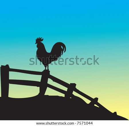 Rooster silhouette on fence - stock photo