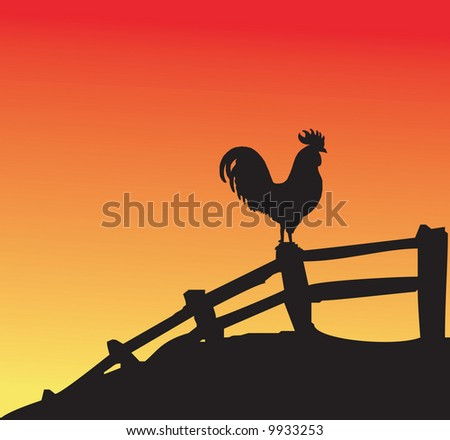 Rooster silhouette on fence at sunset - stock photo
