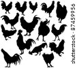 Rooster Silhouettes - stock vector