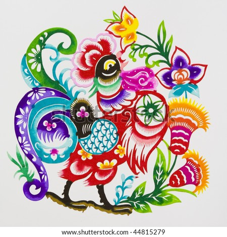 Rooster,This is a picture of Chinese paper cutting, representing the Chinese Zodiac, such as mouse, ox, and tiger. Paper-cutting is one of the traditional Chinese arts and crafts. - stock photo