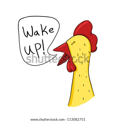 Rooster wake up call illustration; Angry rooster drawing