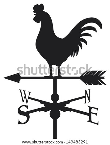 rooster weather vane (weathercock silhouette, rooster weather vane) - stock photo