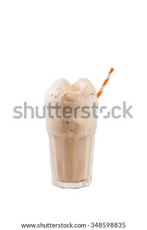 Root beer with vanilla ice cream isolated on white background with clipping path - stock photo