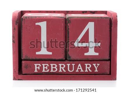 Root calendar February 14. Isolate on white. - stock photo