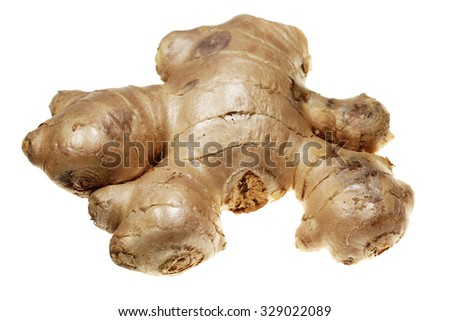 Root ginger it is isolated on a white background - stock photo