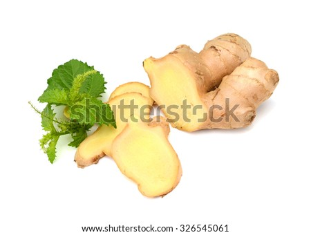 Root of ginger with slices  - stock photo