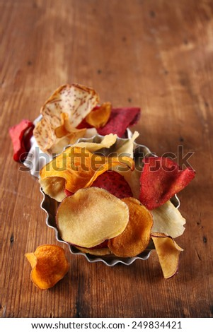 root vegetable chips - stock photo