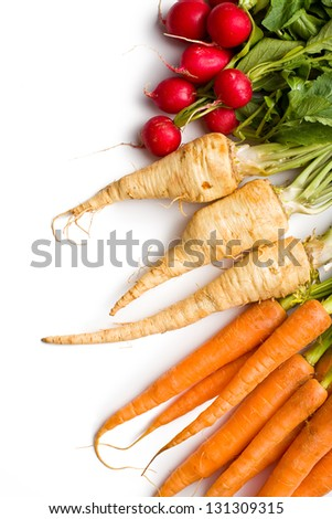 root vegetables on white background - stock photo