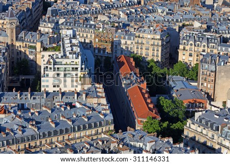 Rooves of the central part of Paris from seen from above - stock photo