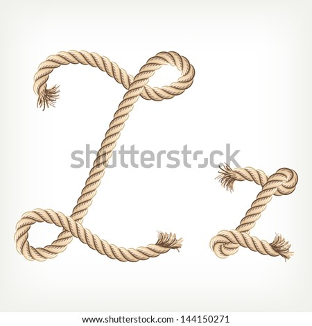 Rope alphabet. Letter Z. Raster version. Vector is also available in my gallery - stock photo