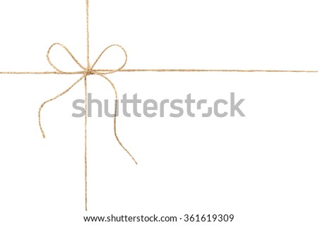 Rope and bow isolated on white background.