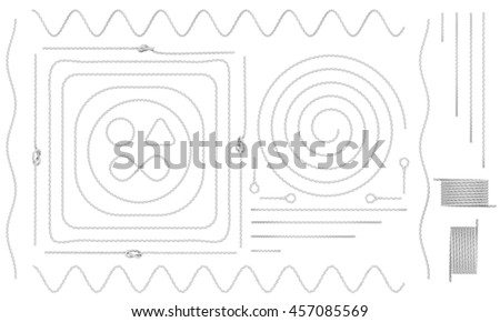 Rope and cable elements isolated on white. 3d rendering - stock photo