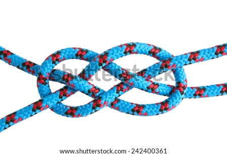 Rope and knots sheet bend on white background - stock photo