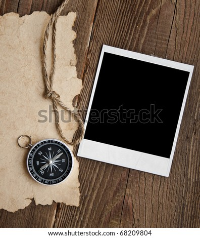 rope and old photo on grunge background - stock photo
