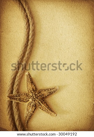 Rope and seastars on old paper - stock photo