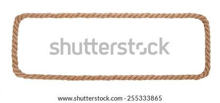 Rope border isolated on white background. - stock photo