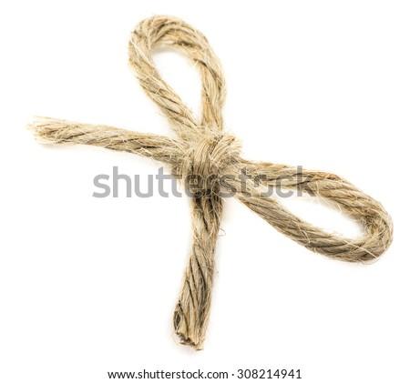 Rope bow isolated on white background - stock photo