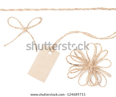 Rope bow tag. Jute wrapping collection for present and hanging pricing. Close up isolated over white - stock photo