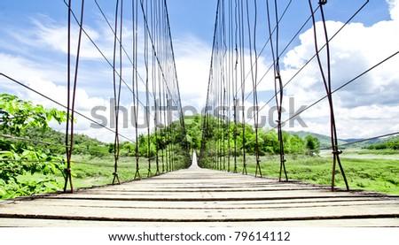 Rope Bridge at Kaengkrachan Dam - stock photo