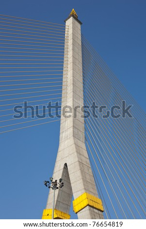 Rope bridges and towers. On dark blue background of the day.