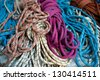 Rope bundles used for climing tree. - stock photo