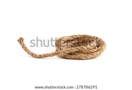 Rope coil isolated on white background - stock photo