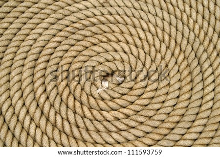 Rope Coiled Up in Circles with Center Detail Horizontal - stock photo