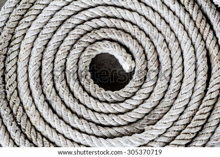 Rope folded helix. Roll of nautical rope - stock photo