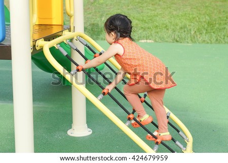 Rope for climbing in the playground for kids - stock photo