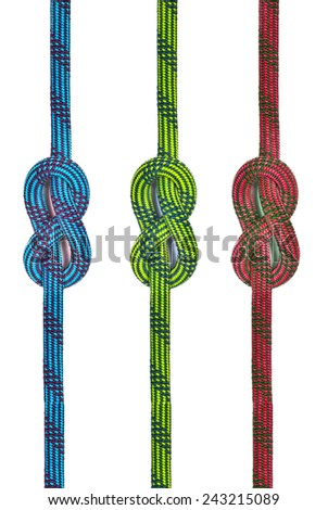 Rope for mountaineering. Grapevine knot. - stock photo