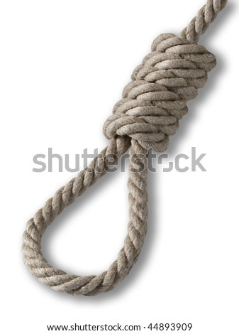 rope - hanging noose on the white background with shadow
