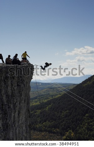 rope jumping - stock photo