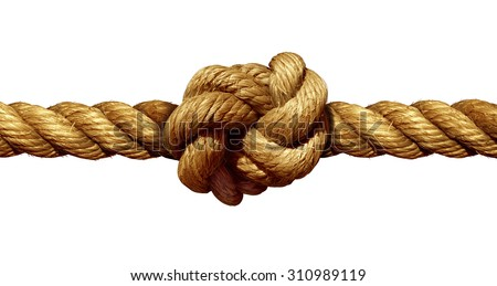 Rope knot isolated on a white background as a strong nautical marine line tied together as a symbol for trust and faith and a metaphor for strength or stress. - stock photo