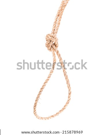 rope knot loop isolated on white background - stock photo