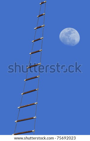 Rope ladder on the moon background - stock photo