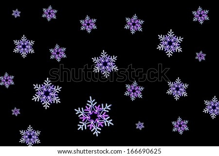 Rope-light coloured snowflakes on a black background - stock photo