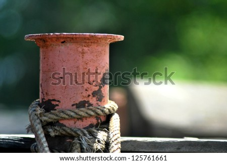 rope mooring mast ship - stock photo