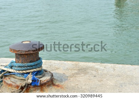 rope mooring mast ship - stock photo
