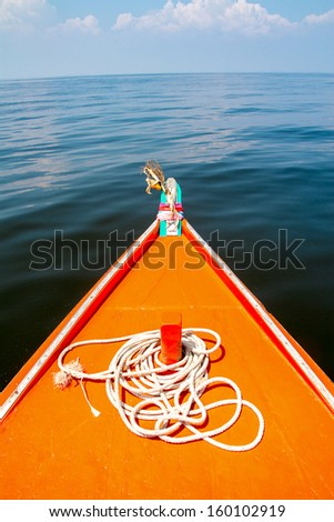 rope on fishing boat in the sea
