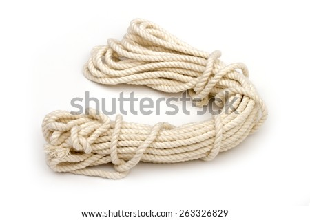 rope on the white background - stock photo