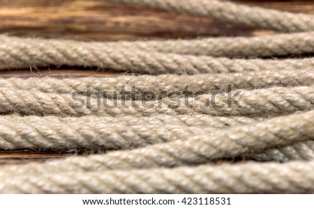 Rope on the wooden background