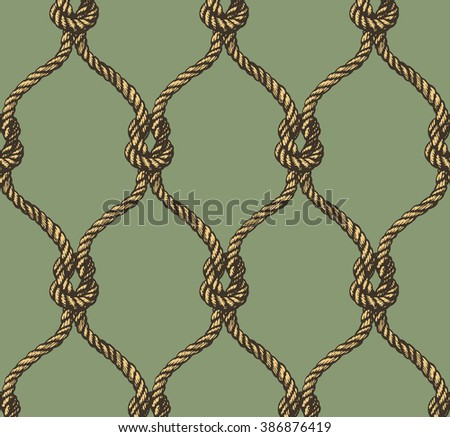 Rope seamless tied fishnet pattern - stock photo
