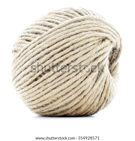 Rope skein, hemp roll, natural ball, isolated on white background