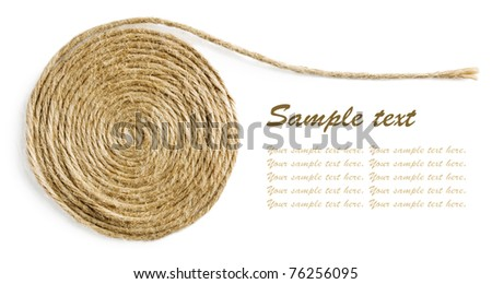 Rope spiral isolated on white background with sample text - stock photo