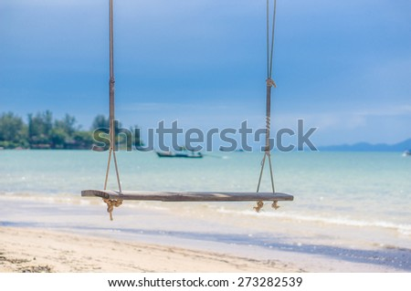 Rope swing under tree on ocean beach in sunny day