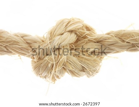 Rope with a knot in it, isolated on white. - stock photo