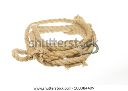 Rope with carabiner isolated on white background
