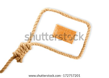 Rope with hangman's noose and soap isolated on white background - stock photo